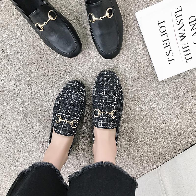 豆豆鞋 豆豆鞋女春外穿2018新款韩版百搭平跟金属链格子黑一脚蹬懒人单鞋_推荐淘宝好看的女豆豆鞋