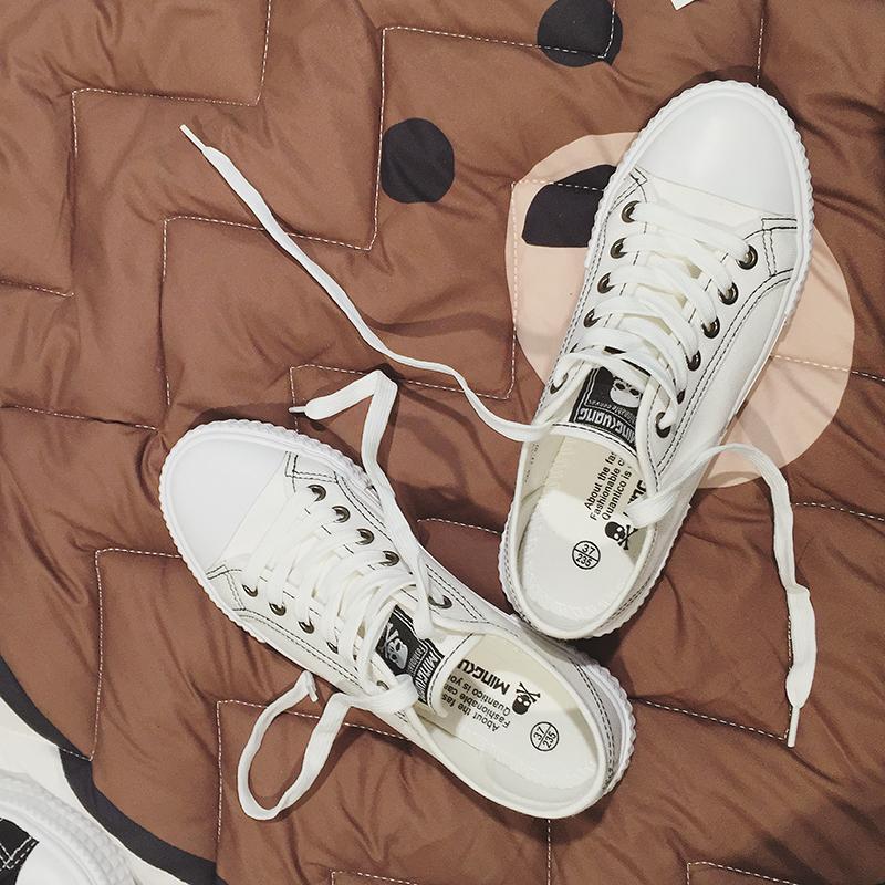 白色平底鞋 白色帆布鞋女潮韩国学院风 原宿平底小白鞋女秋透气学生鞋女系带_推荐淘宝好看的白色平底鞋
