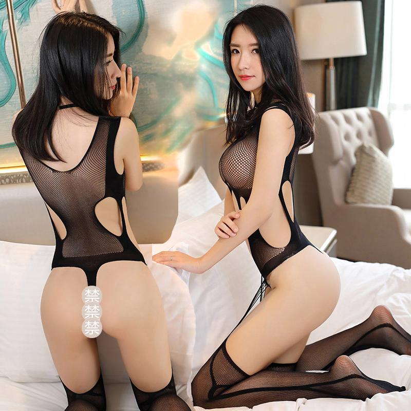 制服丝袜 霏慕女式情趣内衣镂空露臀黑丝袜制服诱惑套装性感连身袜黑色网袜_推荐淘宝好看的制服丝袜