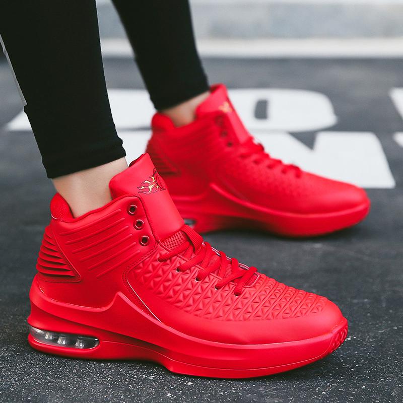红色高帮鞋 春季男士高帮红鞋红色运动内增高休闲厚底篮球38码男鞋子轻便潮鞋_推荐淘宝好看的红色高帮鞋