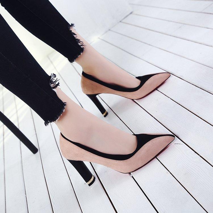 红色高跟鞋 红色尖头高跟鞋女2018春秋新款拼色浅口性感细跟单鞋显瘦小码女鞋_推荐淘宝好看的红色高跟鞋