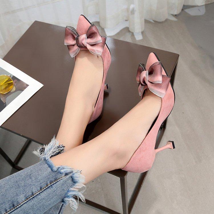 时尚高跟鞋 蝴蝶结粉色细跟高跟鞋女百搭时尚四季新款单鞋黑色职业工作女鞋潮_推荐淘宝好看的女时尚高跟鞋