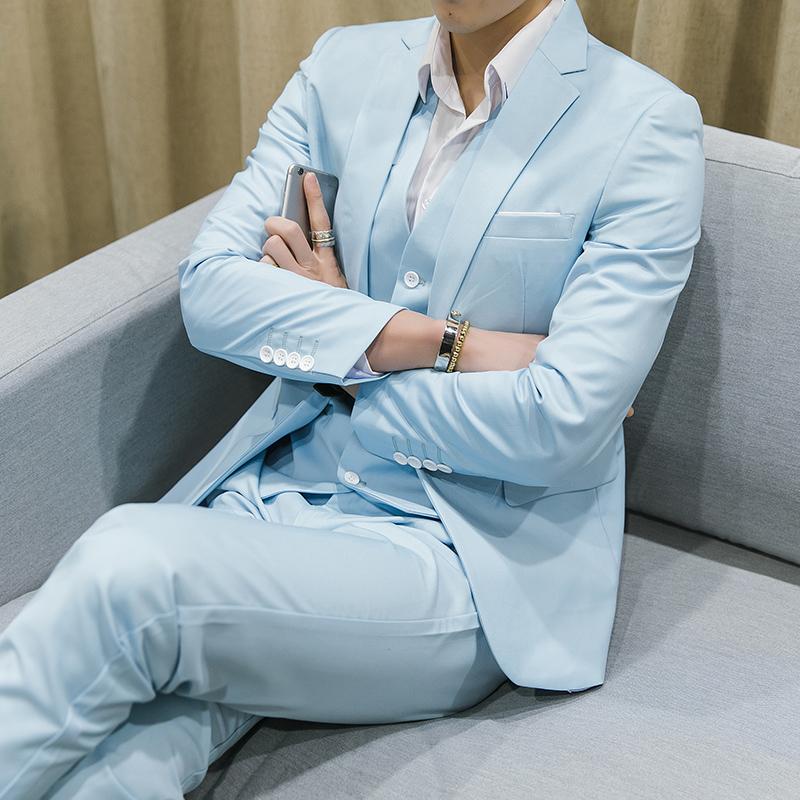 韩版男士小西装 浅蓝色韩版西装三件套潮流主持人礼服胖子男大码5XL结婚西服套装_推荐淘宝好看的韩版男士西装