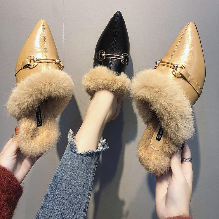 拖鞋 拖鞋女外穿时尚鞋子女2018新款百搭韩版学生粗跟一脚蹬网红女鞋潮_推荐淘宝好看的女拖鞋
