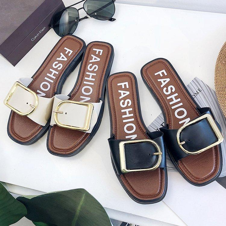 拖鞋 金属皮带扣子拖鞋女夏外穿2018新款女鞋平底防滑软底女凉拖沙滩鞋_推荐淘宝好看的女拖鞋