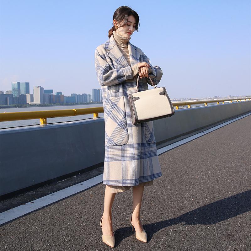 毛呢韩版外套 2018冬季新款韩版女装中长款宽松显瘦格子流行大衣女气质毛呢外套_推荐淘宝好看的女毛呢韩版外套