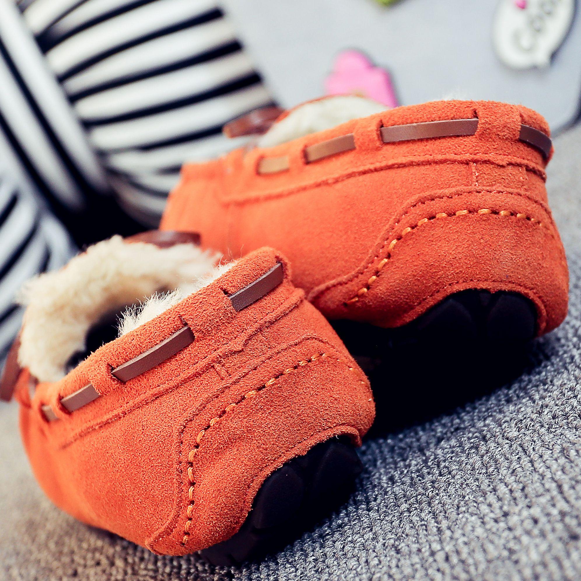 真皮豆豆鞋 清仓羊皮毛一体豆豆鞋女真皮羊毛加绒冬季防滑保暖平底单鞋雪地靴_推荐淘宝好看的女真皮豆豆鞋