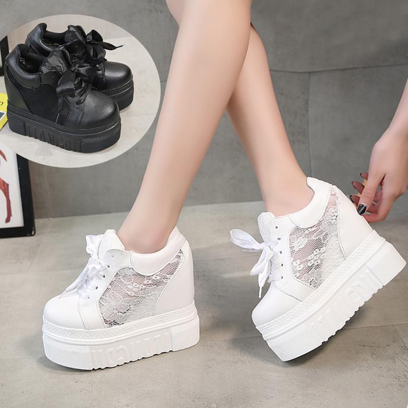 白色松糕鞋 超高跟女鞋14cm内增高网纱2018夏新款韩版松糕白色厚底鞋休闲单鞋_推荐淘宝好看的白色松糕鞋