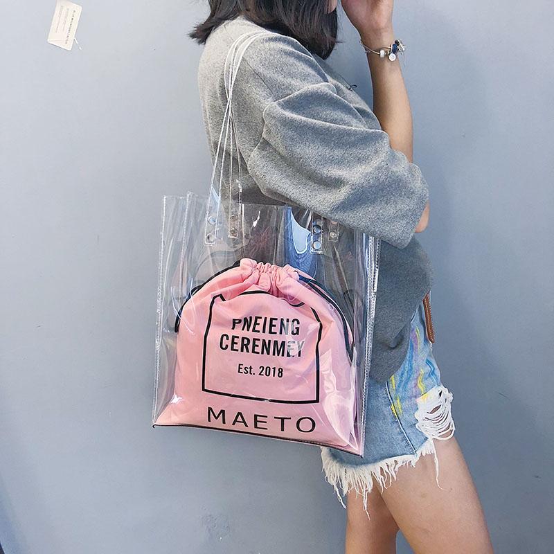 粉红色单肩包 上新夏天透明塑料包印花包包女2018新款购物袋印花单肩chic手提包_推荐淘宝好看的粉红色单肩包