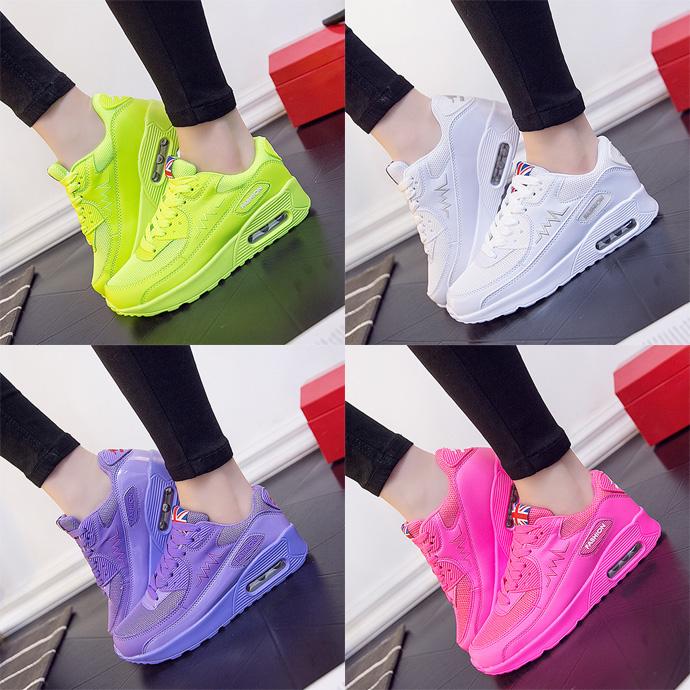 紫色运动鞋 2018夏季新款百搭韩版女鞋子骚粉色荧光绿紫色网布透气运动鞋学生_推荐淘宝好看的紫色运动鞋