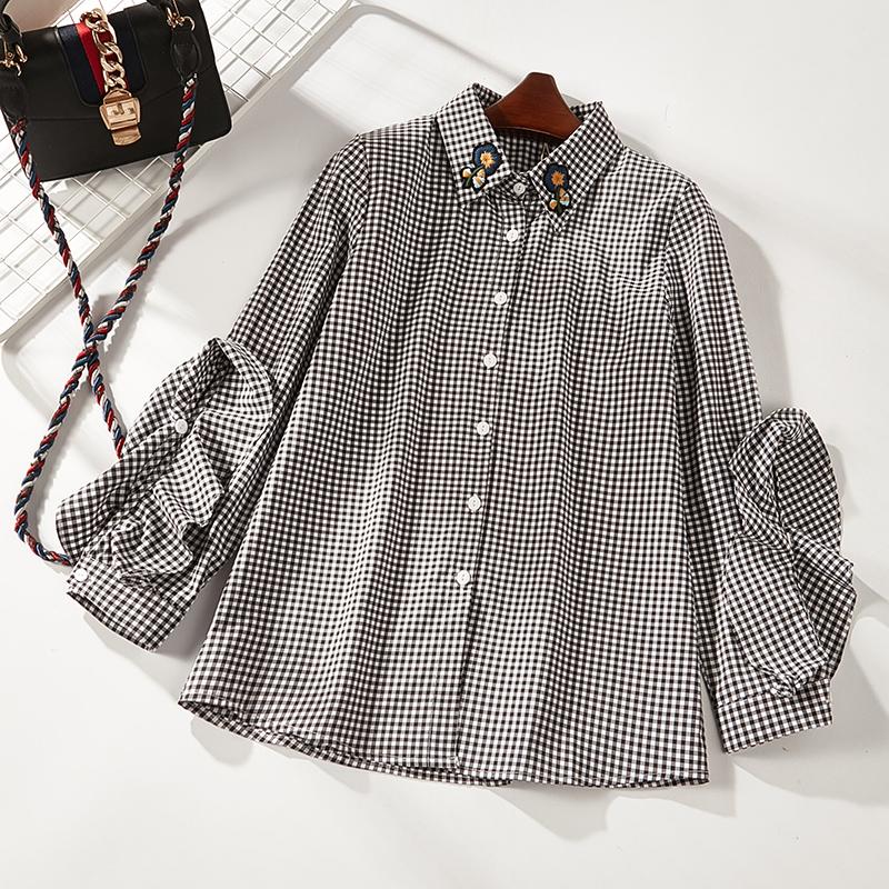 女格子衬衫 2018夏季新款休闲格子长袖衬衫女901_推荐淘宝好看的女格子衬衫