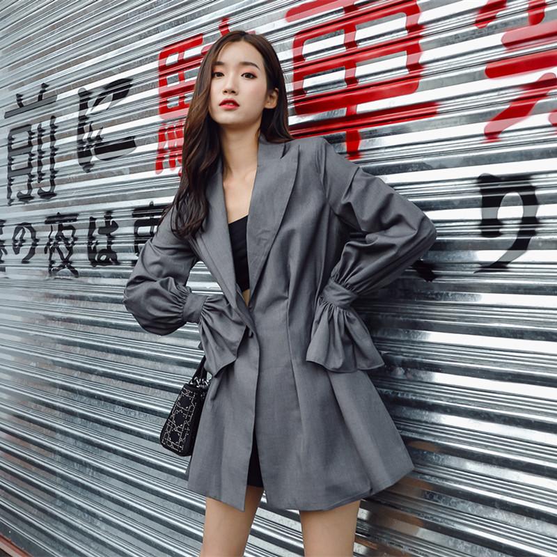 修身休闲外套 灰色薄款chic休闲西装外套女韩版中长款秋装收腰修身_推荐淘宝好看的女修身休闲外套