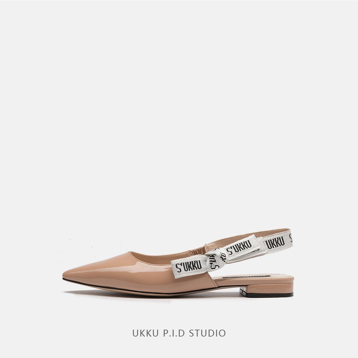 女式平底凉鞋 UKKU 2018夏季新款浅口百搭款舒适尖头漆皮平底平跟女凉鞋补货_推荐淘宝好看的女平底凉鞋