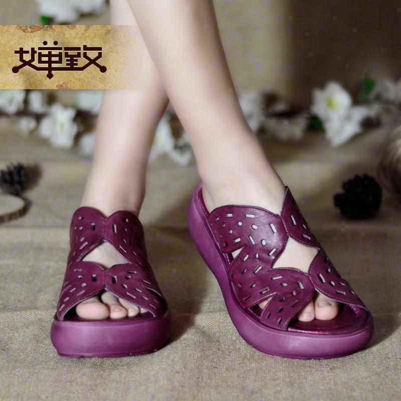紫色鱼嘴鞋 牛皮鞋软底紫色厚底高跟松糕底手工真皮宽头复古凉拖鞋子鱼嘴女鞋_推荐淘宝好看的紫色鱼嘴鞋