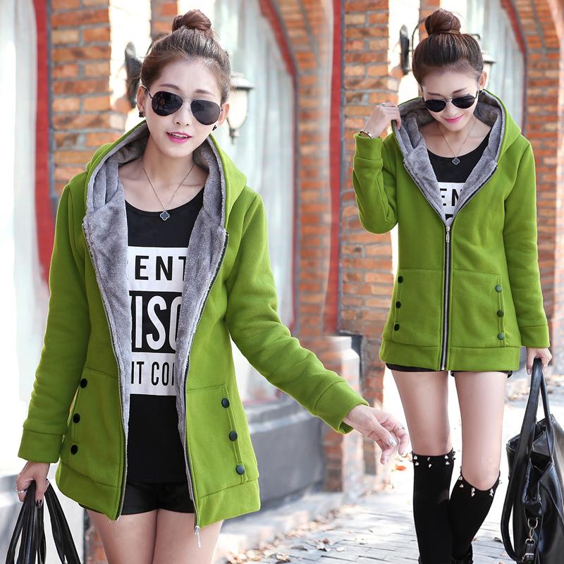 绿色卫衣 卫衣女开衫春秋冬装加厚加绒中长款外套连帽拉链休闲大码显瘦外衣_推荐淘宝好看的绿色卫衣