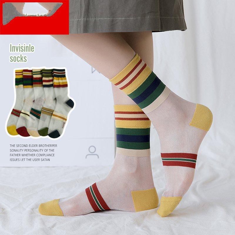 彩色透明丝袜 水晶丝袜女玻璃丝彩色透明袜子夏季彩虹韩版时尚潮中筒夏天短丝袜_推荐淘宝好看的彩色透明丝袜