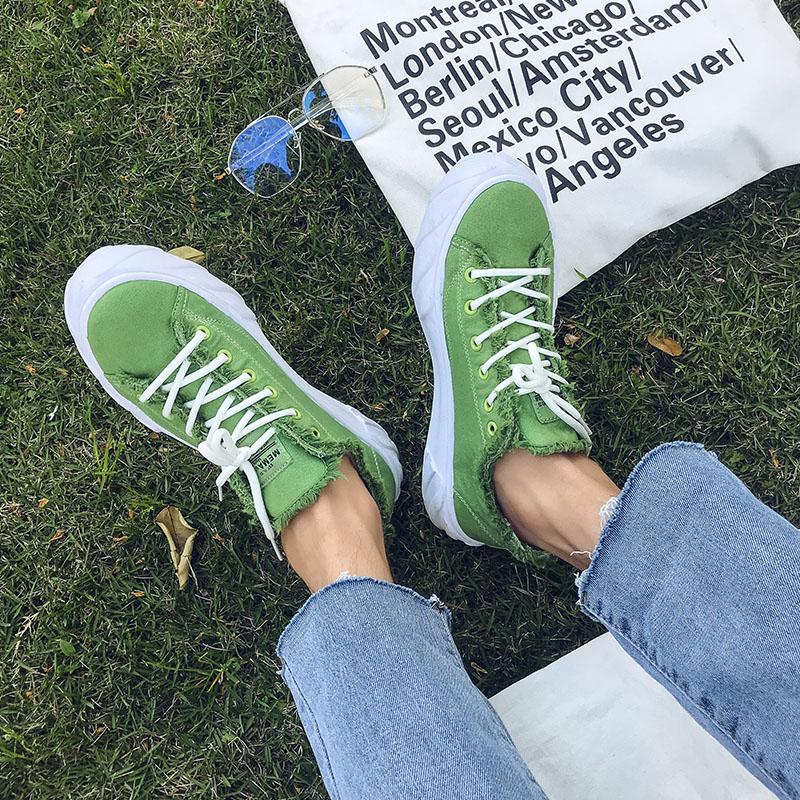 绿色帆布鞋 夏季绿色帆布鞋男潮流低帮学生鞋子男潮鞋韩版透气百搭港风男板鞋_推荐淘宝好看的绿色帆布鞋