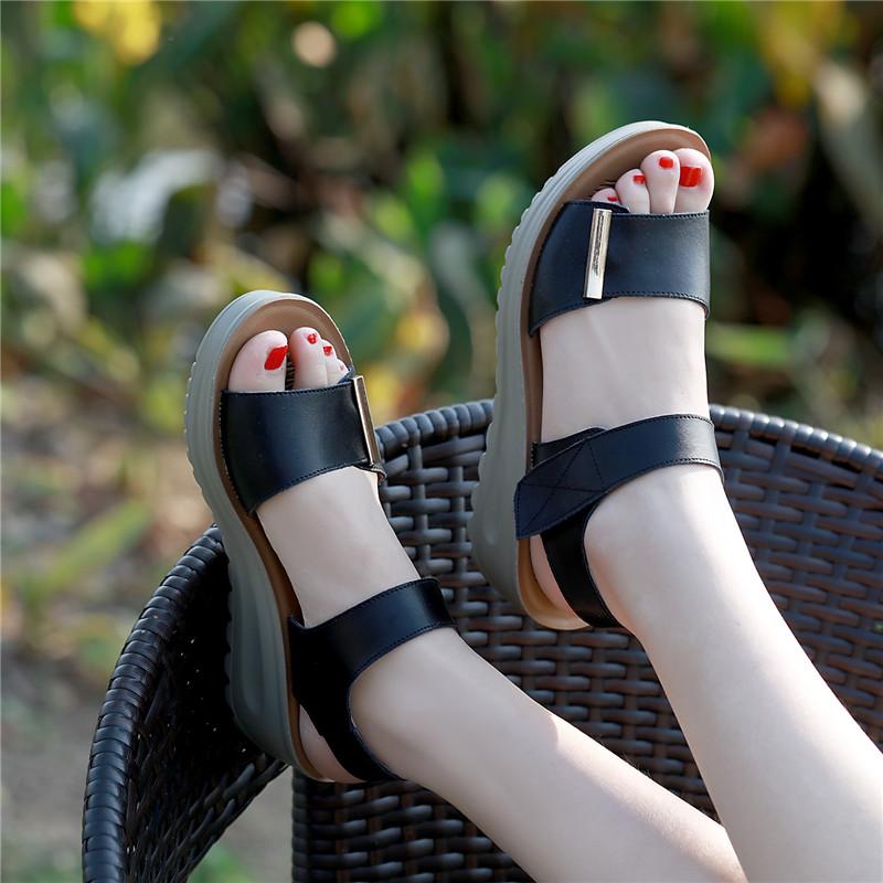 凉鞋孕妇坡跟鞋 2018中跟凉鞋女夏真皮坡跟罗马鞋平底孕妇鞋妈妈鞋粗跟沙滩鞋女鞋_推荐淘宝好看的凉鞋孕妇坡跟鞋