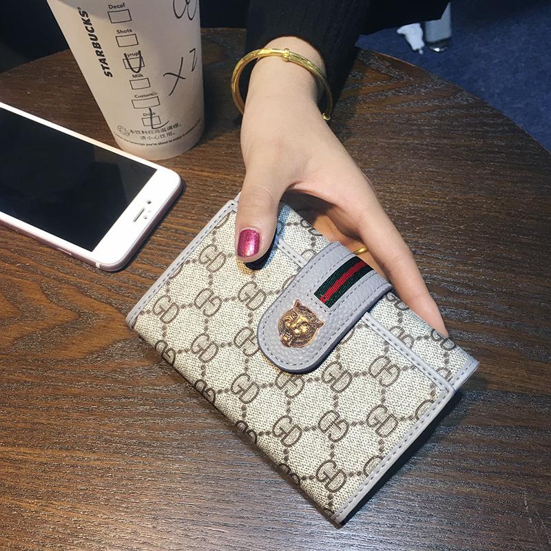 粉红色钱包 欧美新款大牌女士钱包女短款三折叠简约时尚皮夹零钱夹多功能2017_推荐淘宝好看的粉红色钱包