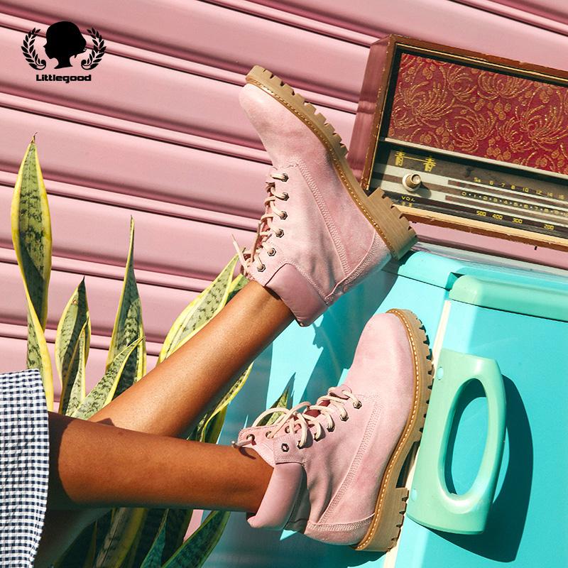 圆头短靴 littlegood复古马丁靴女英伦风真皮圆头短靴中筒靴机车高帮靴学院_推荐淘宝好看的女圆头短靴