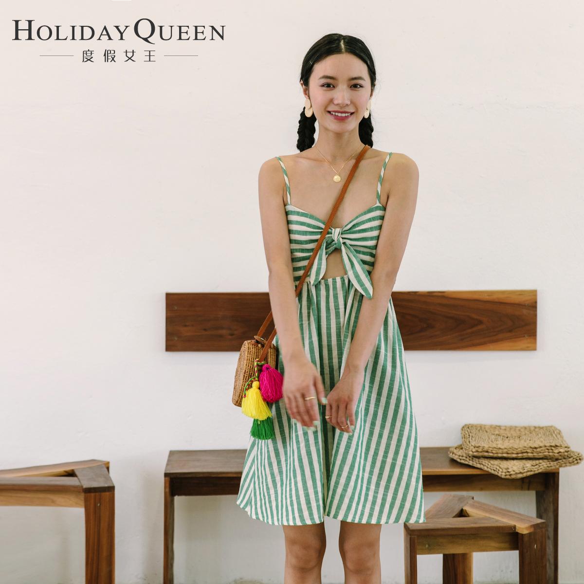 绿色连衣裙 度假女王新款女装性感露背条纹裙修身显瘦吊带连衣裙蝴蝶结短裙_推荐淘宝好看的绿色连衣裙