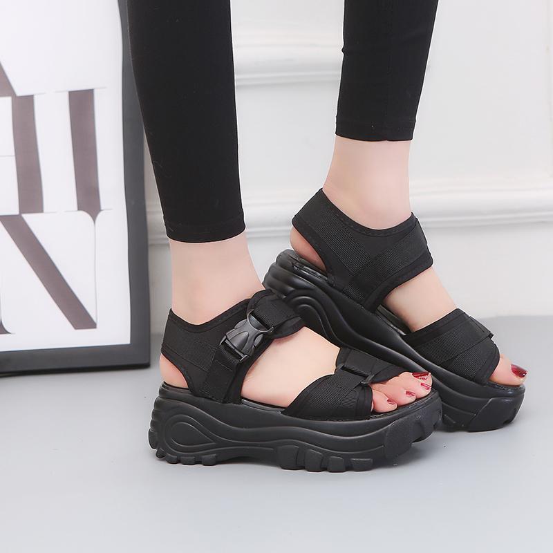 罗马鞋 2018新凉鞋女夏厚底坡跟魔术贴松糕休闲罗马运动鞋时尚学院风女鞋_推荐淘宝好看的女罗马鞋