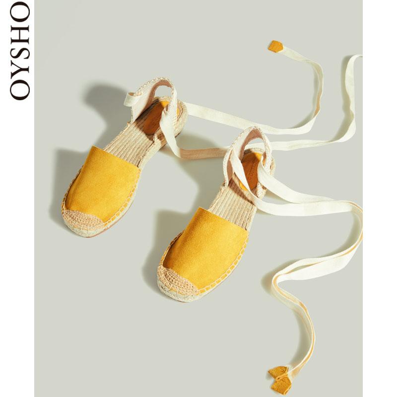 黄色凉鞋 Oysho 休闲百搭黄色绑带麻底包头坡跟凉鞋女 11109361124_推荐淘宝好看的黄色凉鞋