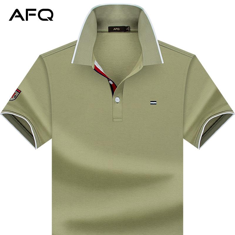 红色T恤 AFQ夏季男士纯色丝光棉短袖T恤 休闲纯棉翻领体恤POLO衫大码半袖_推荐淘宝好看的红色T恤