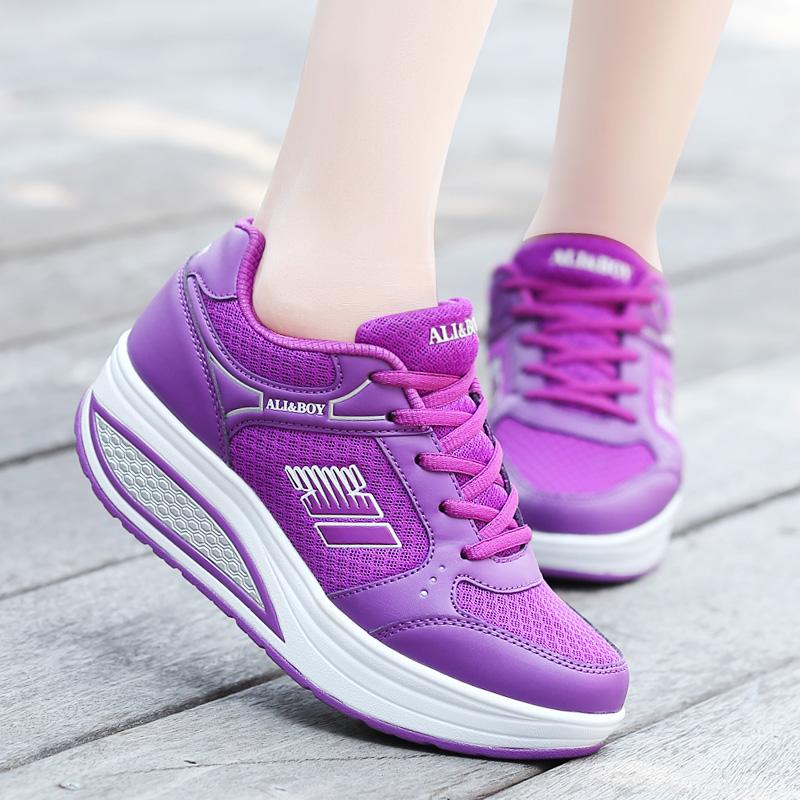 紫色厚底鞋 夏季原宿风紫色网面运动鞋女中学生透气厚底增高bf韩国街拍摇摇鞋_推荐淘宝好看的紫色厚底鞋
