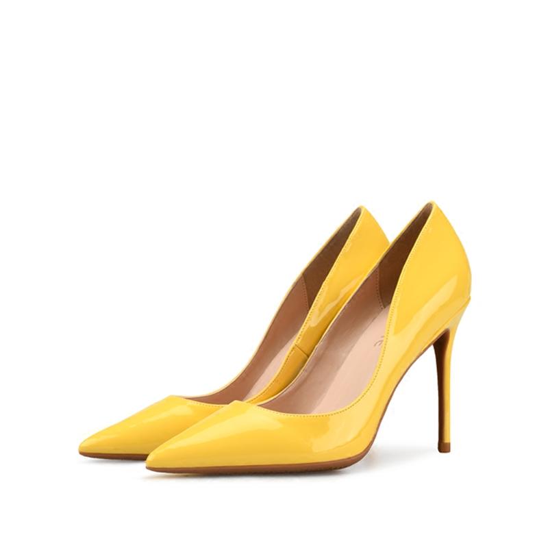 黄色单鞋 2018新款小清新黄色高跟鞋女细跟显瘦尖头性感浅口真皮单鞋春小码_推荐淘宝好看的黄色单鞋
