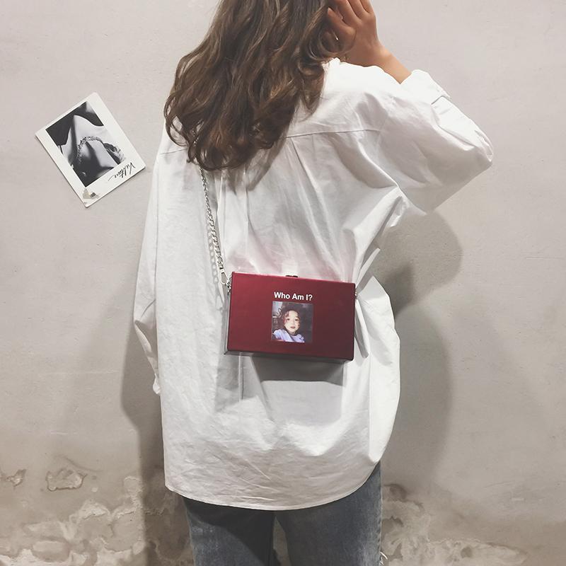 紫色链条包 chic链条小包包女2018新款休闲小方包盒子韩版单肩包韩版斜挎包潮_推荐淘宝好看的紫色链条包