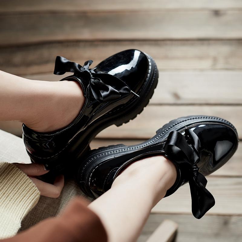 厚底鞋 黑色小皮鞋女冬季加绒2018新款英伦增高厚底松糕鞋女学生百搭单鞋_推荐淘宝好看的女厚底鞋