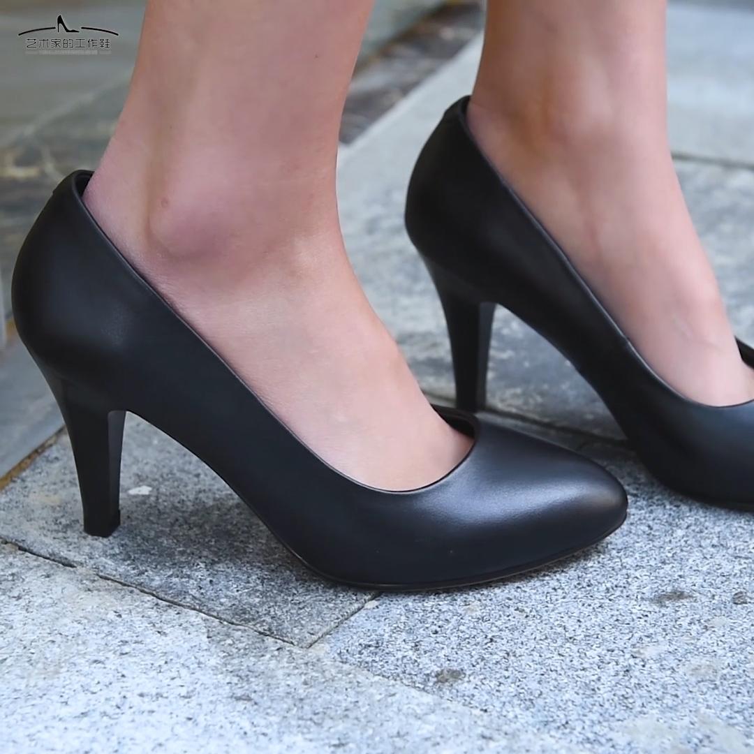 黑色高跟鞋 经典小圆头真皮工作鞋空姐礼仪高跟简约职业女鞋工鞋黑色细跟大码_推荐淘宝好看的黑色高跟鞋
