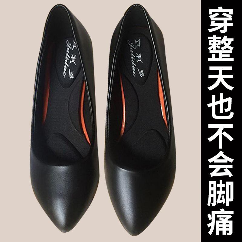 中国高跟鞋 舒适软皮鞋细跟单鞋工装鞋职业空姐鞋工作鞋女黑色宴会高跟鞋百搭_推荐淘宝好看的女高跟鞋
