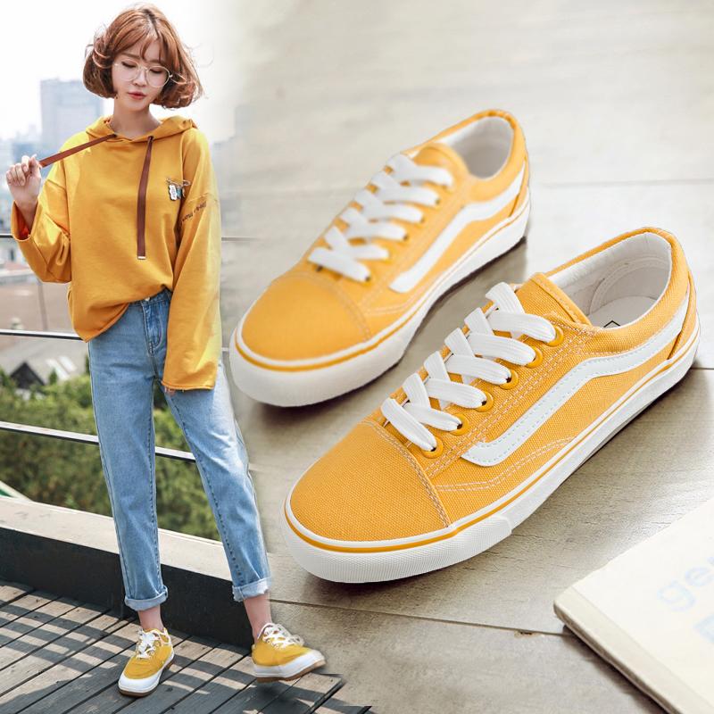黄色帆布鞋 黄色帆布鞋春季女2018新款百搭韩版平跟板鞋学生文艺小清新白布鞋_推荐淘宝好看的黄色帆布鞋
