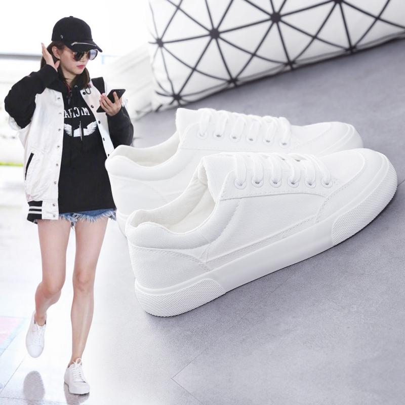 白色帆布鞋 2017夏季新款透气帆布鞋女平底街拍小白鞋百搭学生板鞋白色运动鞋_推荐淘宝好看的白色帆布鞋