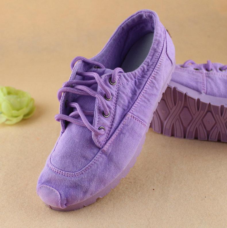 紫色帆布鞋 老北京布鞋时尚潮低帮系带帆布鞋小白鞋紫色平跟女单鞋软底学生鞋_推荐淘宝好看的紫色帆布鞋