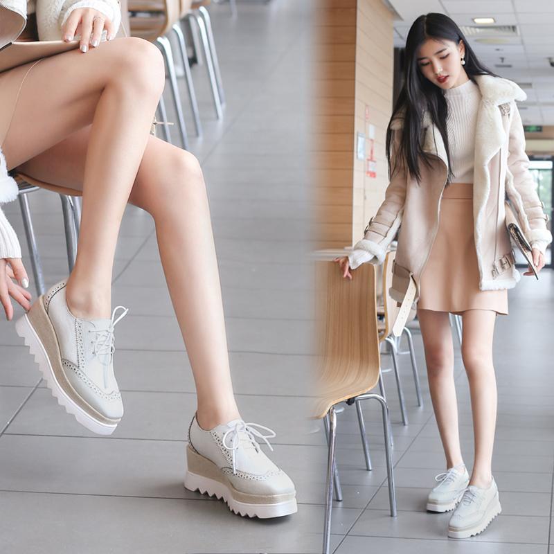 真皮松糕鞋 单鞋女鞋子春季女2018新款百搭英伦风真皮小白鞋厚底松糕鞋高跟鞋_推荐淘宝好看的女真皮松糕鞋