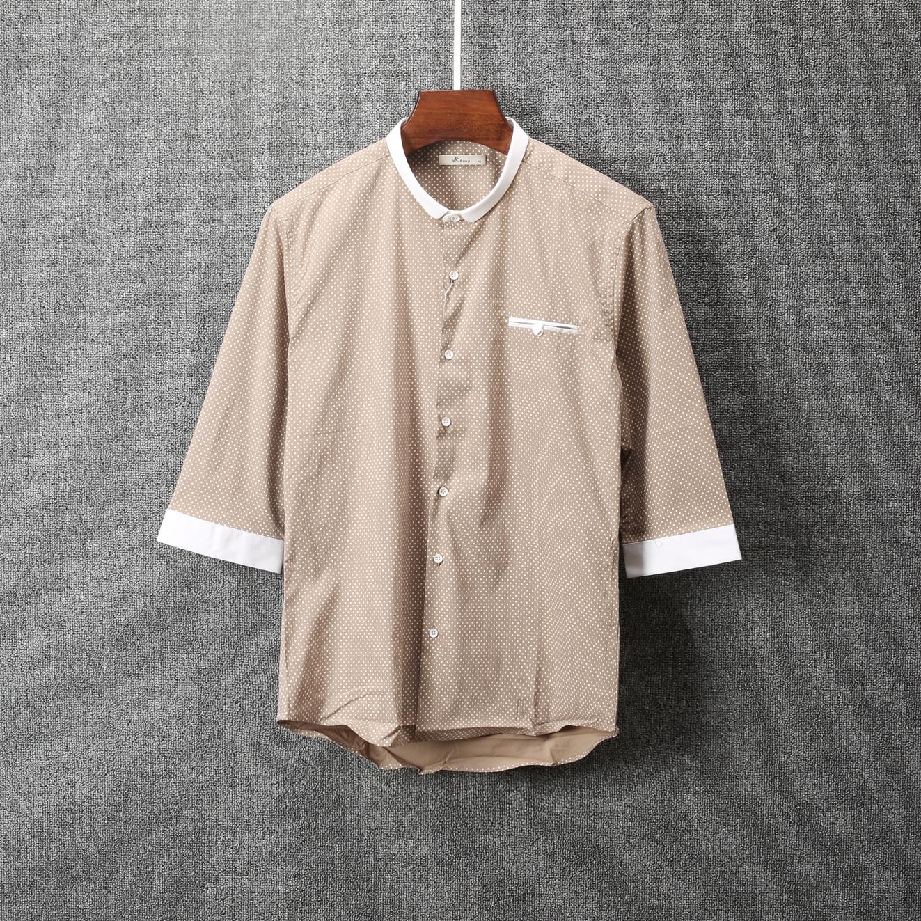 男衬衫 男装衬衫夏季圆点中袖衬衫韩版青年修身简约百搭五分袖衬衣CC-12_推荐淘宝好看的男衬衫