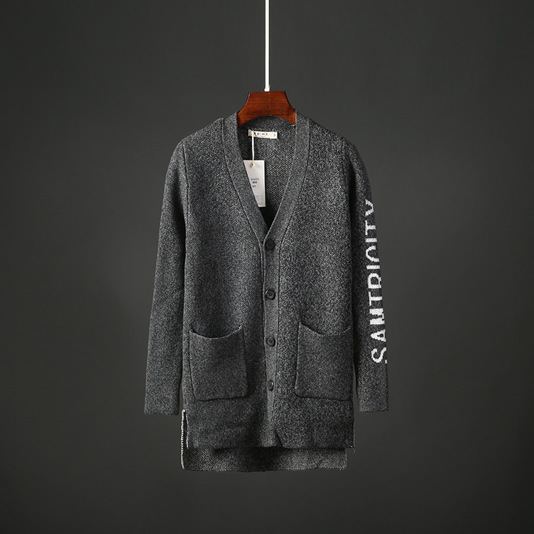 男士修身针织衫 秋季男士开衫毛衣中长款韩版修身百搭外套帅气针织衫毛线男装6803_推荐淘宝好看的男修身针织衫