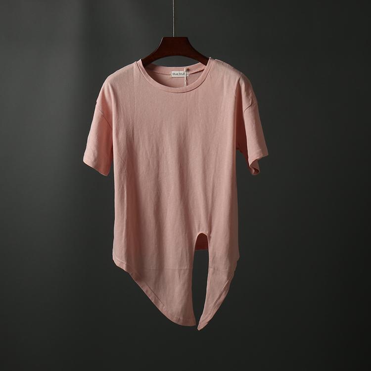 个性女装 韩版夏季新品女装个性不规则短袖T恤宽松圆领百搭显瘦女上衣1127_推荐淘宝好看的个性女装