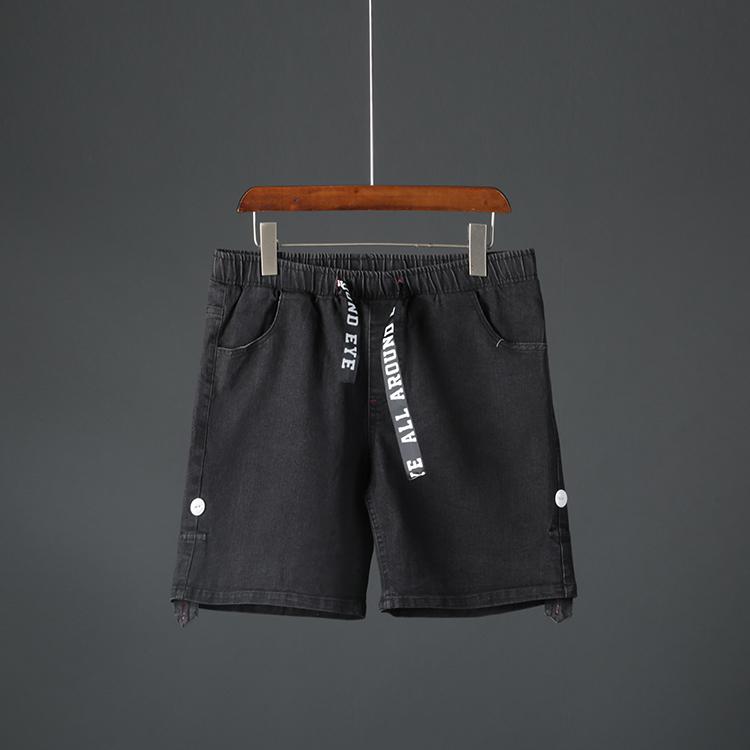 男牛仔裤 男士牛仔短裤夏季个性织带宽松松紧腰直筒百搭青年休闲短裤潮1501_推荐淘宝好看的男牛仔裤