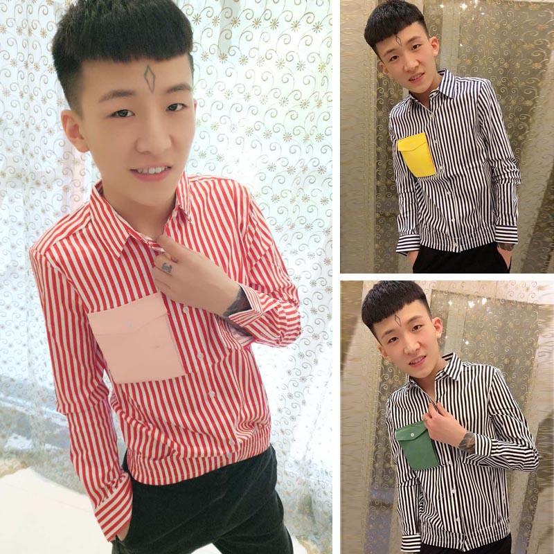 粉红色衬衫 快手红人拽男同款衬衫男长袖修身韩版青年帅气潮流寸衣条纹打底衫_推荐淘宝好看的粉红色衬衫