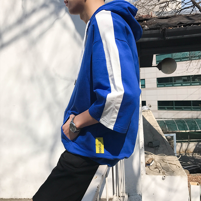男士短袖卫衣 夏新款韩版宽松七分袖潮流连帽五分袖T恤男拼接带帽短袖卫衣纯色_推荐淘宝好看的男短袖卫衣