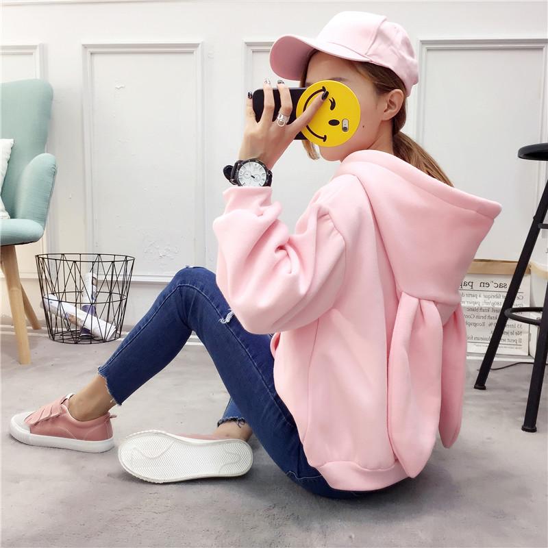 加绒卫衣 日系甜美粉色刺绣兔耳朵加绒加厚连帽冬季卫衣外套可爱心少女学生_推荐淘宝好看的女加绒卫衣