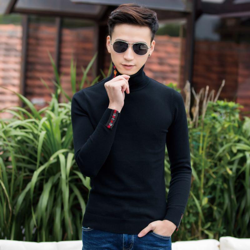 男士修身针织衫 紧身高领毛衣男时尚新款帅气个性修身插色套头针织衫男特色线衣_推荐淘宝好看的男修身针织衫