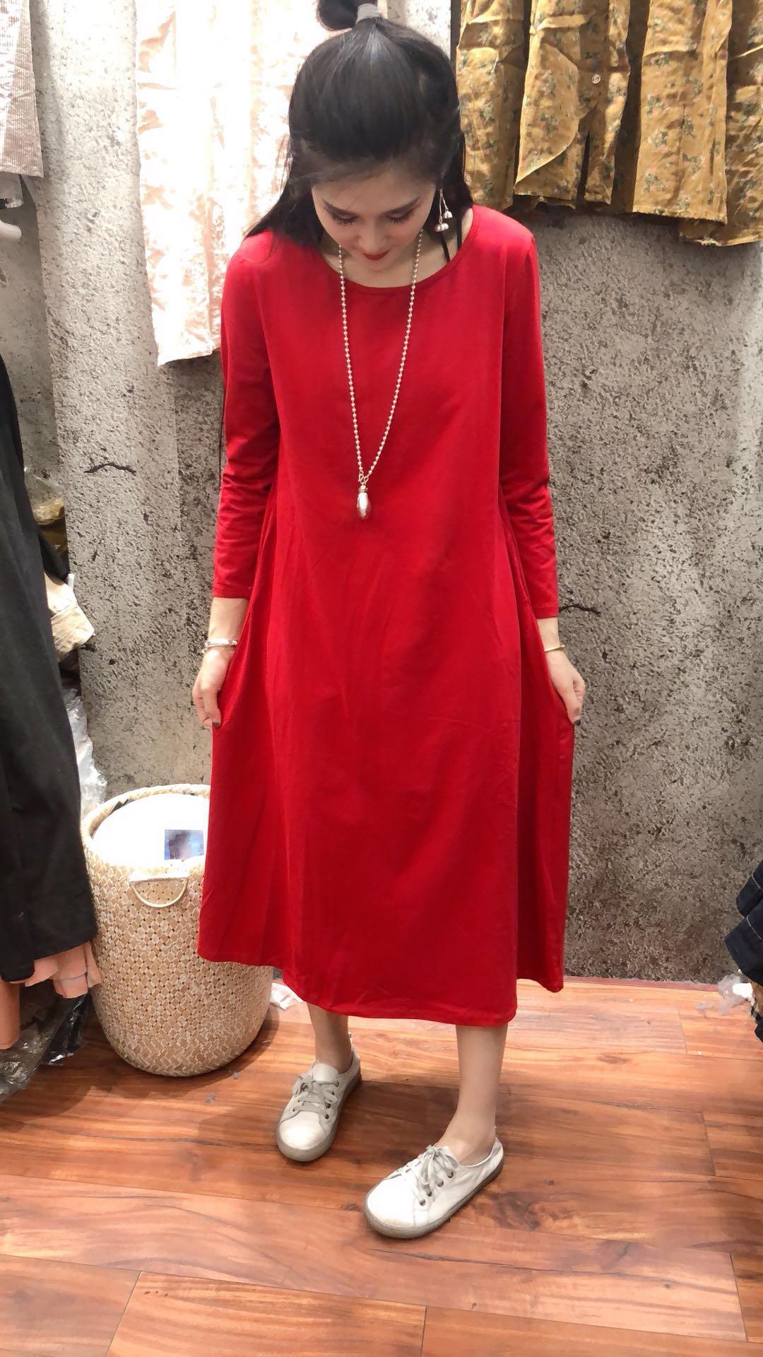 红色连衣裙 2018年新款纯色长款连衣裙XD4F006-AB1812_推荐淘宝好看的红色连衣裙