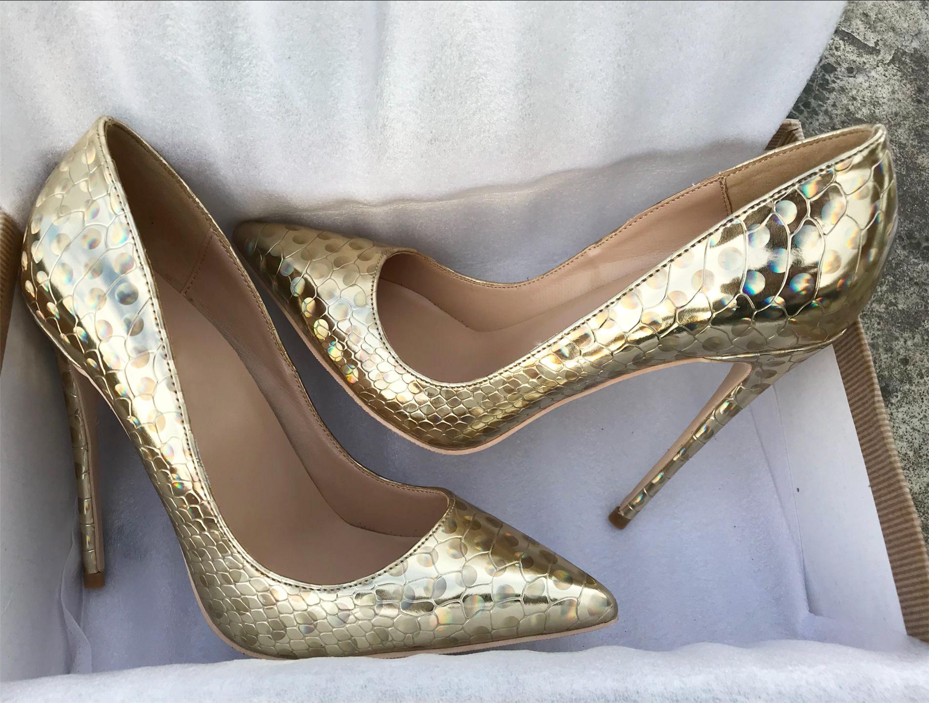 欧美款尖头鞋 欧美新款金色幻彩镭射圈圈高跟鞋细跟尖头高跟鞋浅口单鞋大码43_推荐淘宝好看的欧美尖头鞋