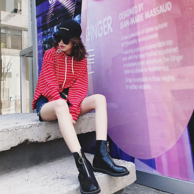 卫衣 MIKA ︱2018春季新款女士卫衣 原创设计学院风双条条纹连帽卫衣_推荐淘宝好看的女卫衣