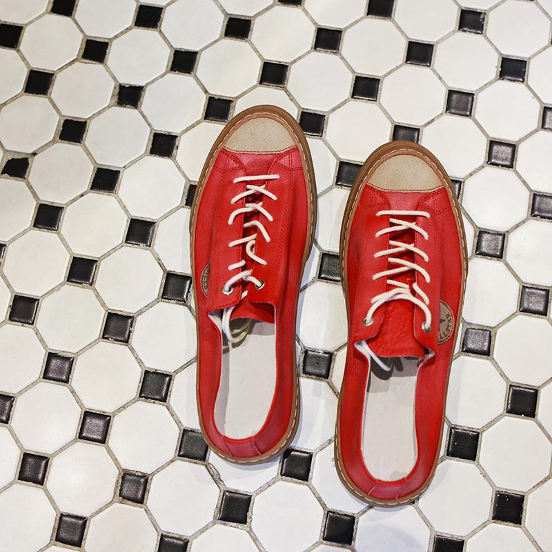 低帮复古板鞋 【帽子先森】敲喜欢美式复古滑板鞋男真皮系带潮鞋街头风低帮鞋子_推荐淘宝好看的低帮复古板鞋